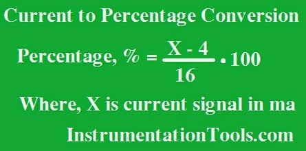 Formula for Current 4-20 mA to Percentage Conversion