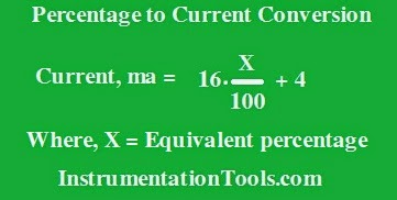 Formula to Calculate 4-20ma from Percentage