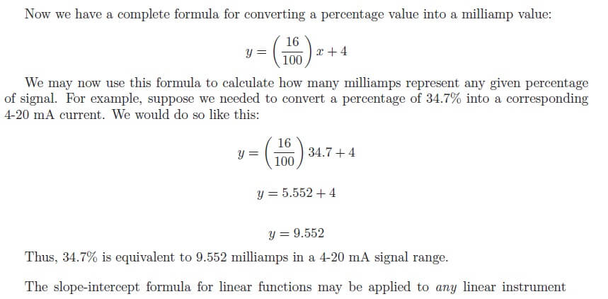 4 to 20 mA Calculation Example