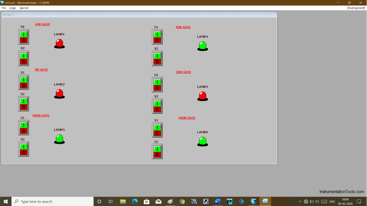 Switch Simulation in InTouch Scada