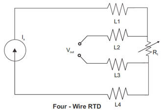 Four wire RTD Wiring