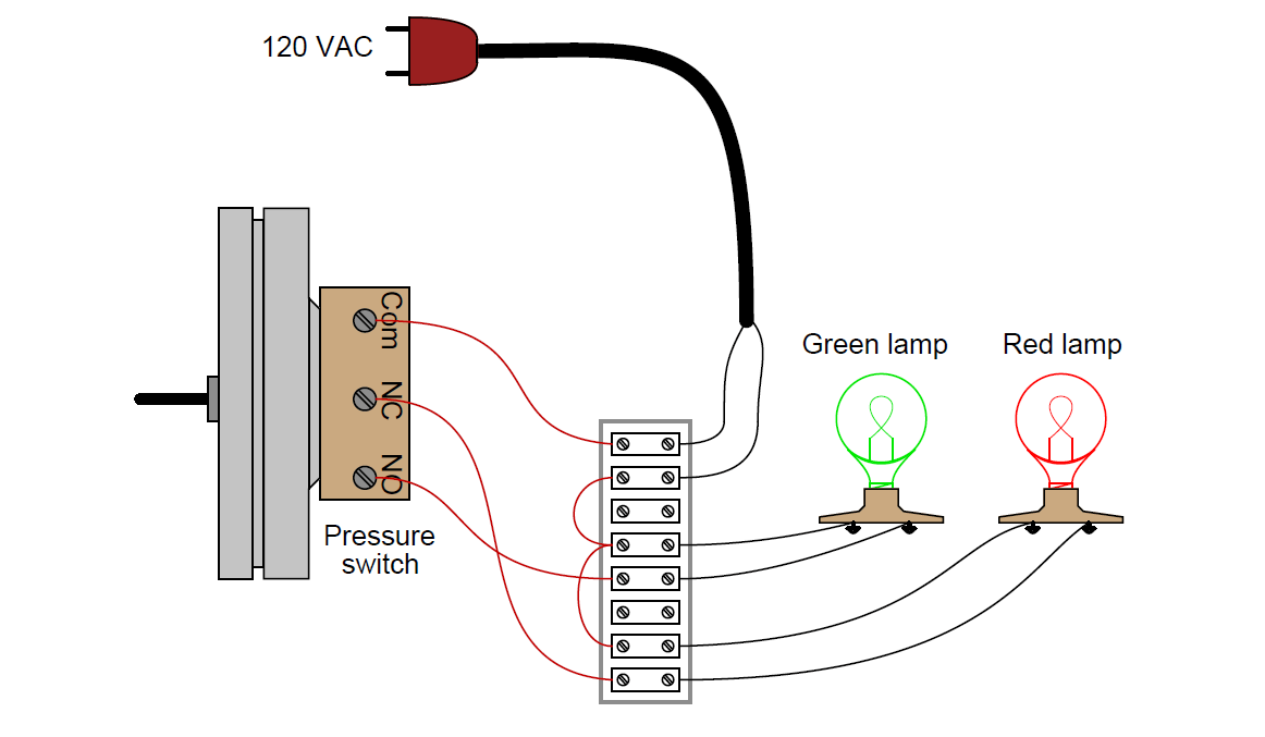 pressure switch control two lamps wiring