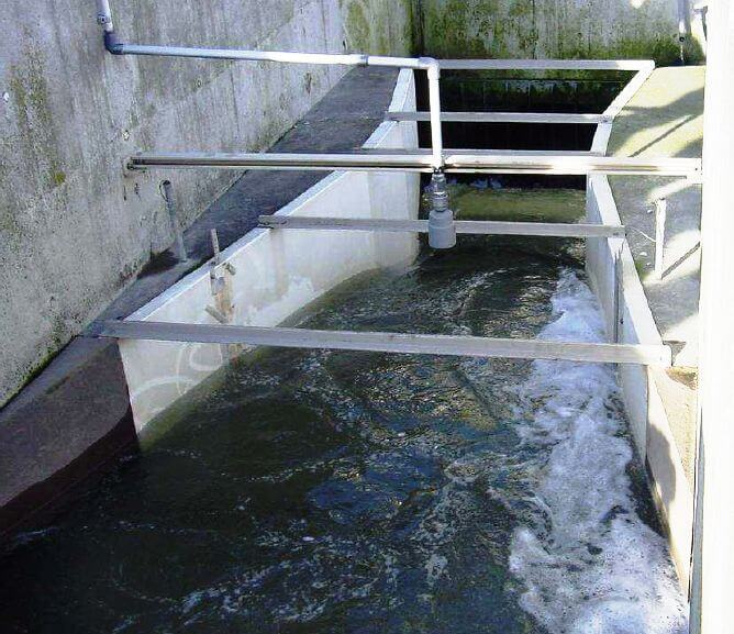 Parshall flume measuring flow