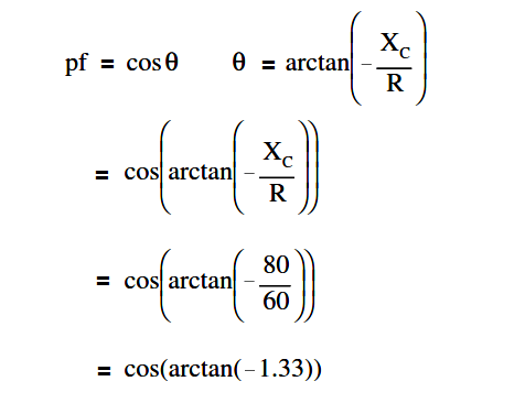 Calculate Power Factor in Series R-C Circuit