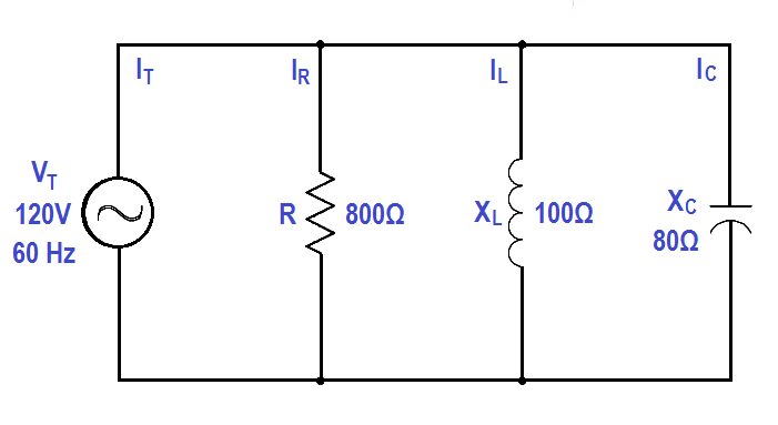 Calculate Power in Parallel RCL Circuit