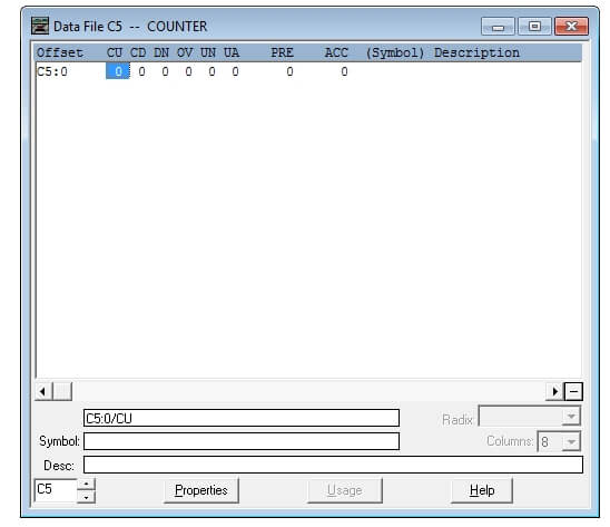 Counter Instruction Data File