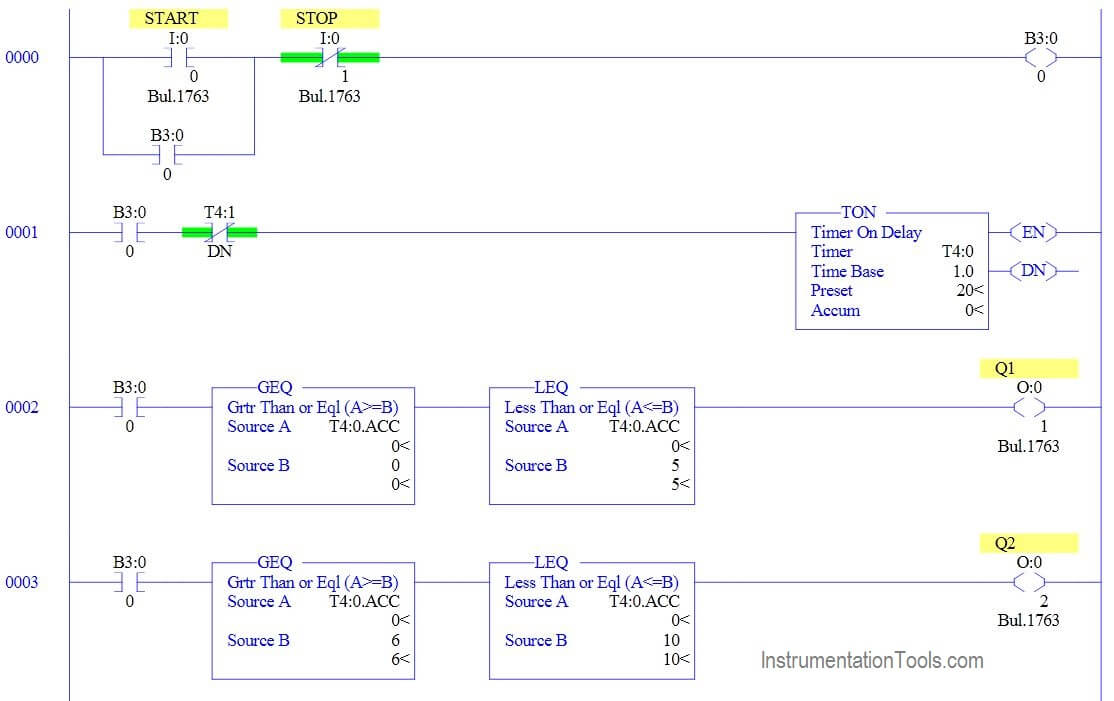 Ladder Logic Example with Timers