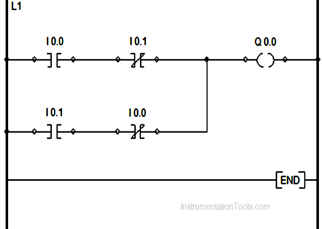 Ladder Logic for Stair-Case wiring using Toggle Switches