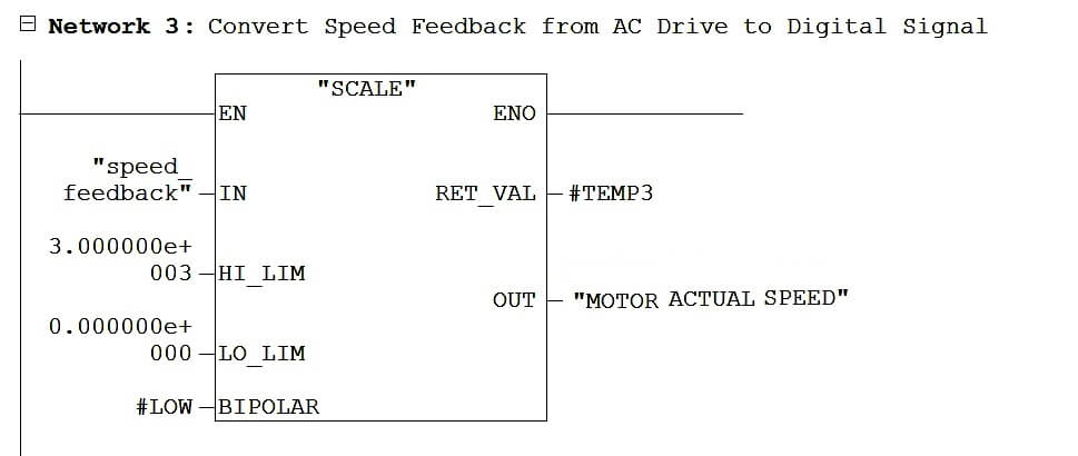 Ladder Logic to Convert Speed Feedback from Drive