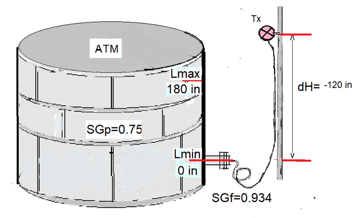 Remote Capillary Level Transmitter Mounted Above Seal