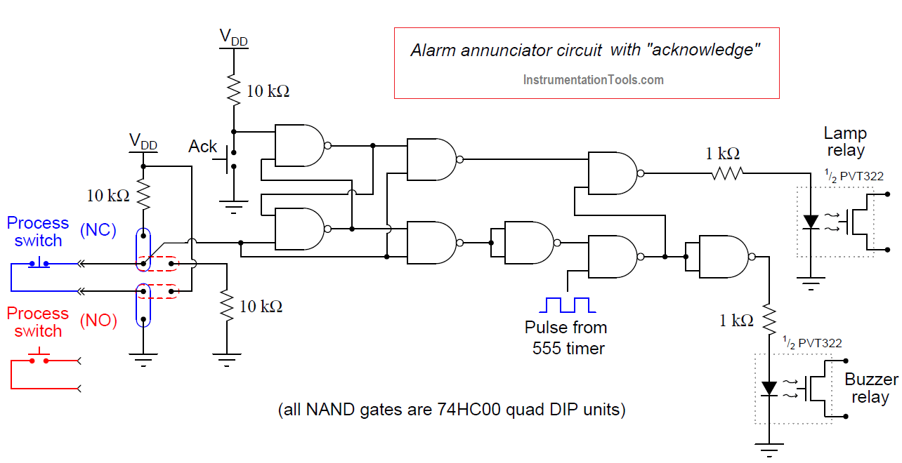 Alarm annunciator circuit with acknowledge