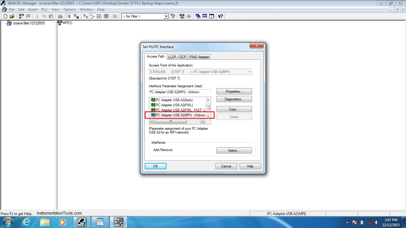 PC Interface in Simatic Manager PLC