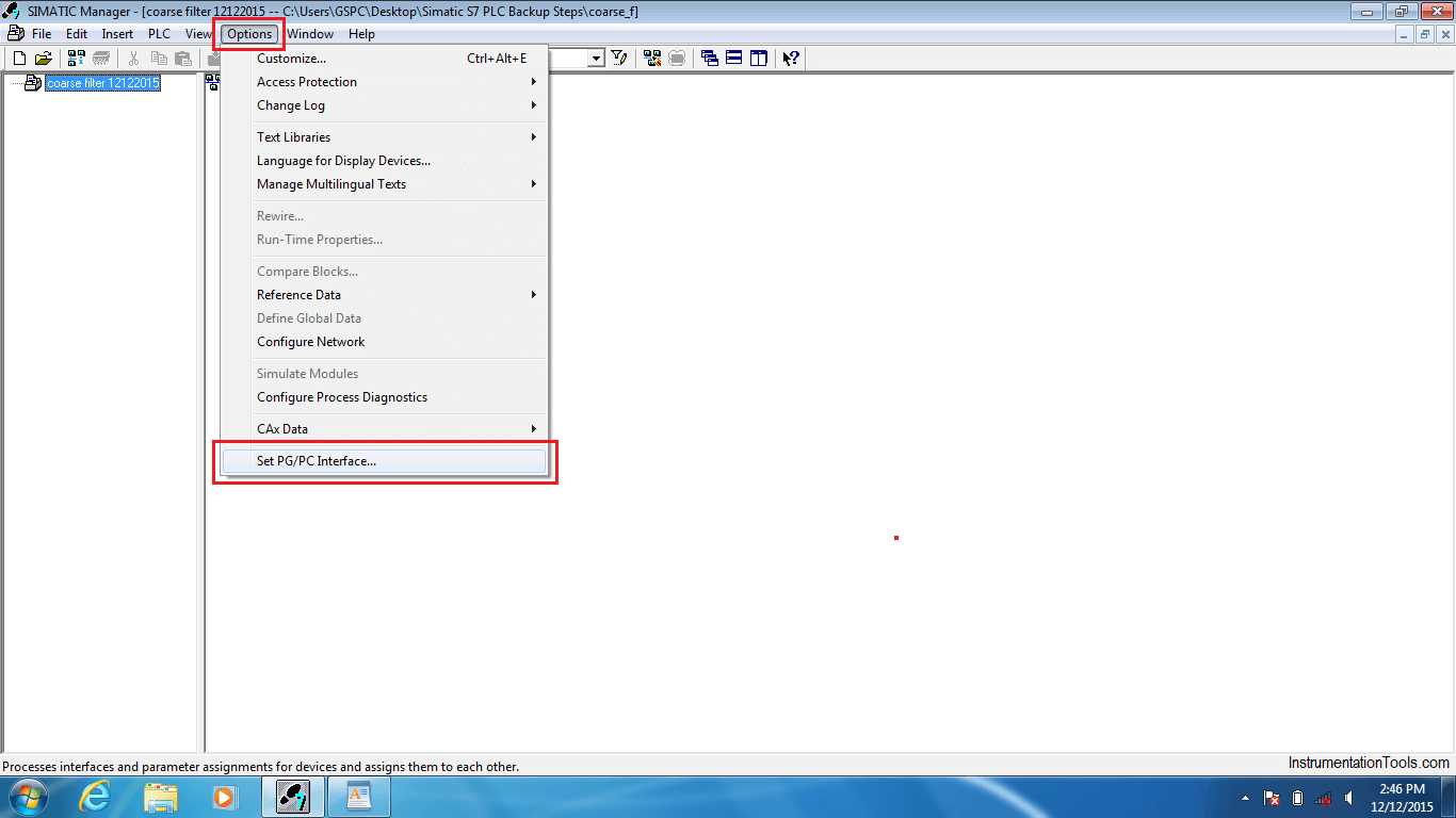 SIMATIC Manager Options