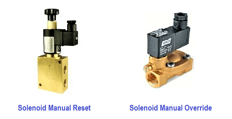 Compare Solenoid Valve Manual reset and Manual Override