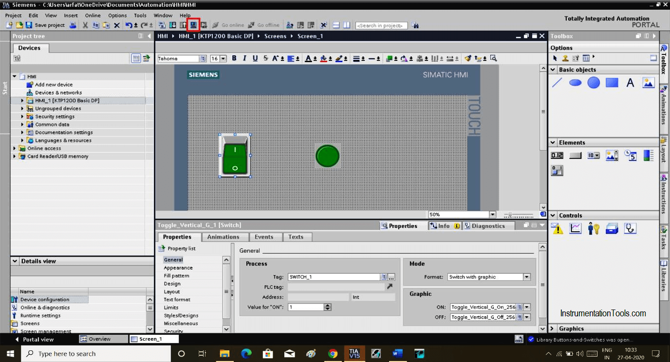 Simulation icon in HMI Software