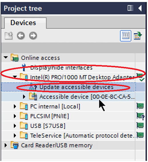accessible devices in Tia portal