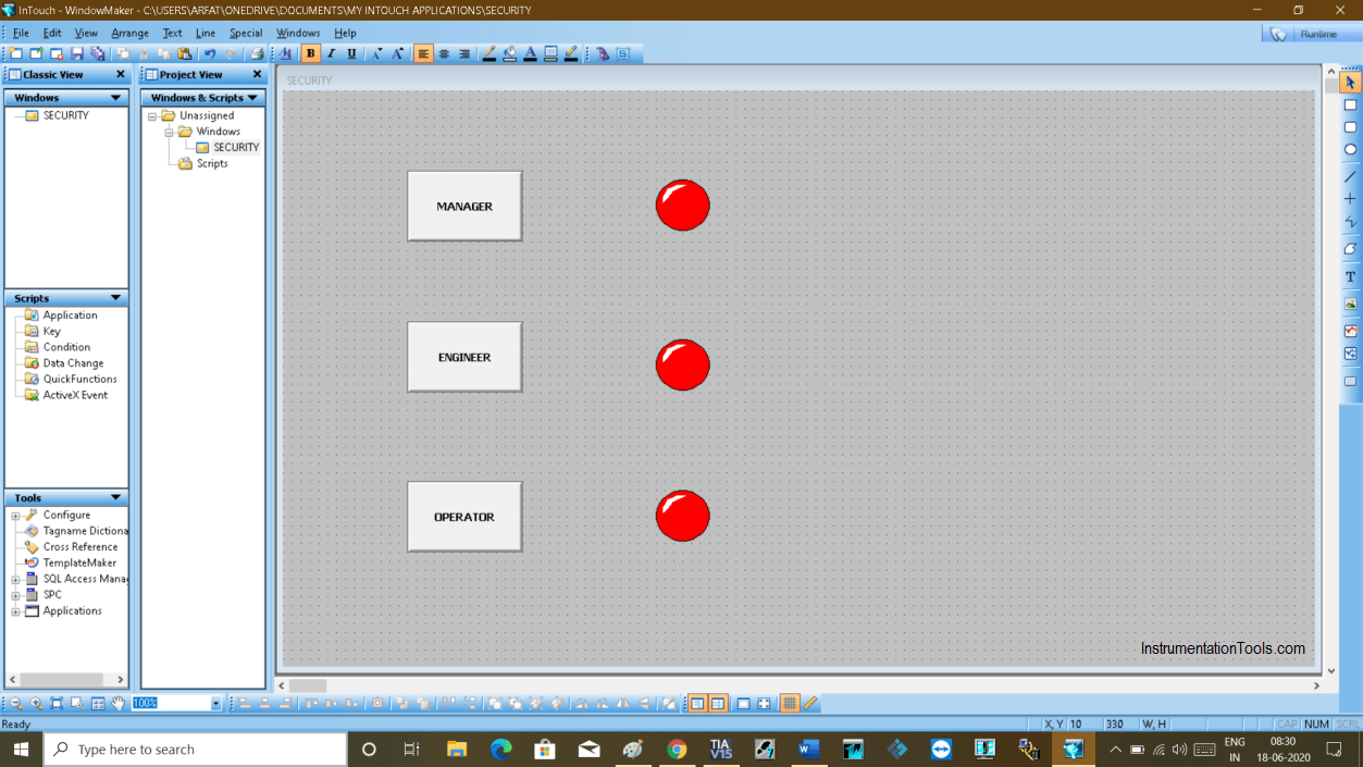 Insert Lamps in InTouch SCADA