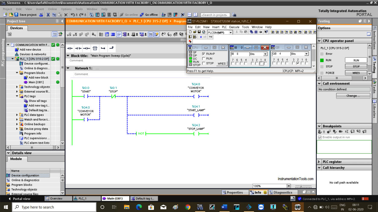 PLC Program in Run Mode