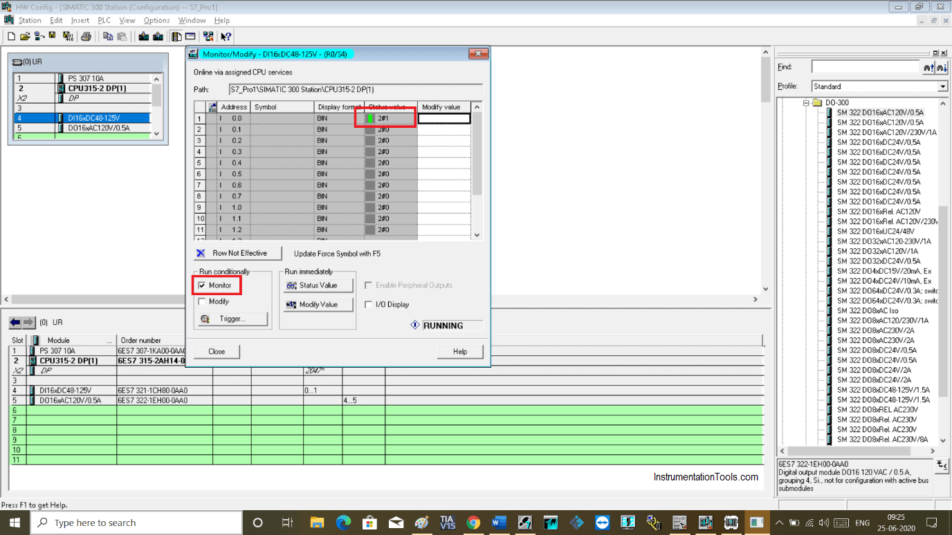Monitor the input variable in Simatic Manager