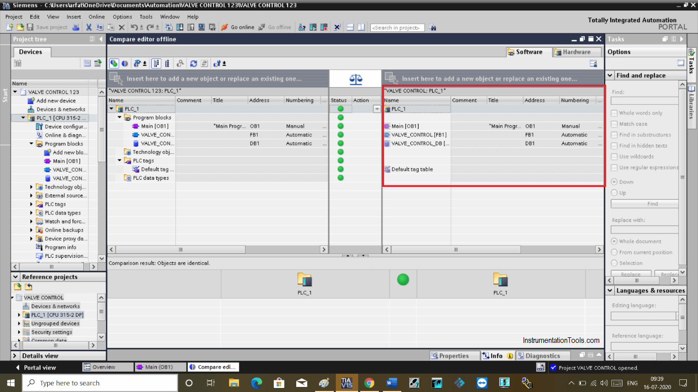 PLC offline data of a project are compared