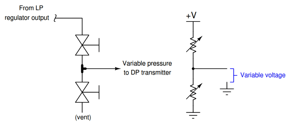 Variable pressure to DP Transmitter