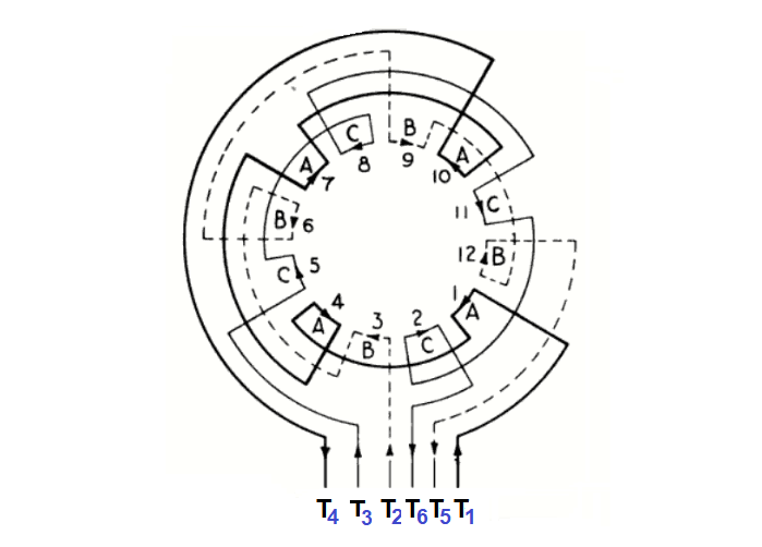 three-phase motor in Star and Delta connections
