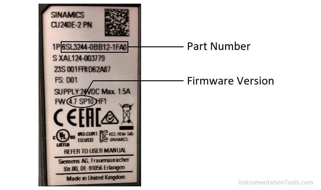 Siemens VFD Drive Firmware Version and Part Number