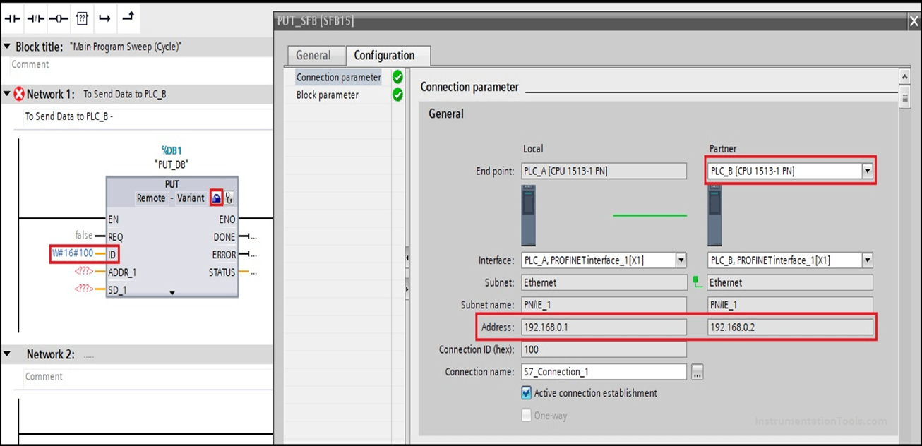Siemens S7 Connection Parameter Selection