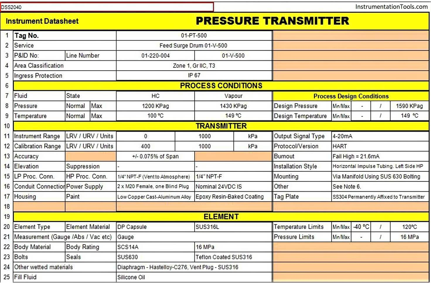 Instrument Specification Document