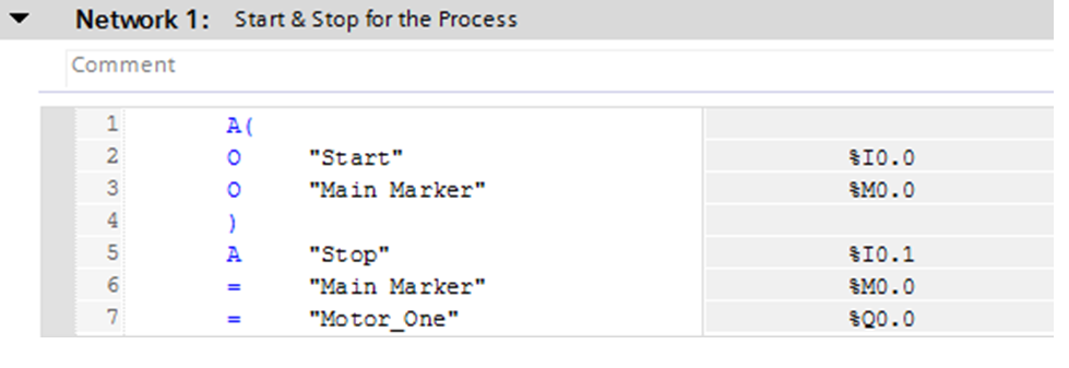 Start and Stop of the Process using STL Program