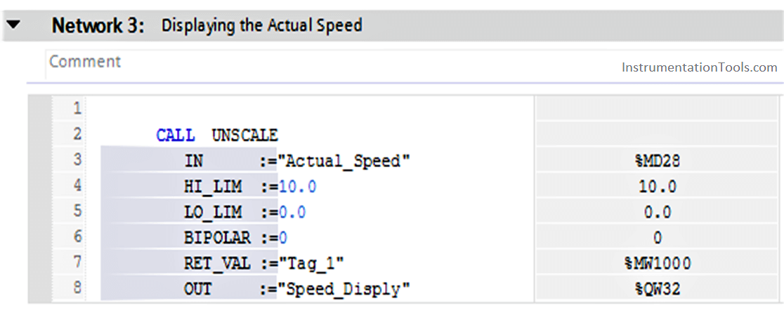 Displaying the Actual Speed Code in PLC