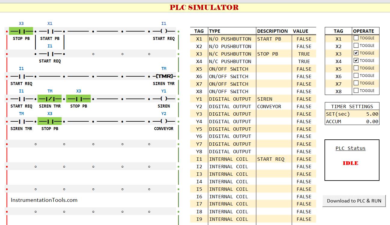 Free Download PLC Simulator using Excel