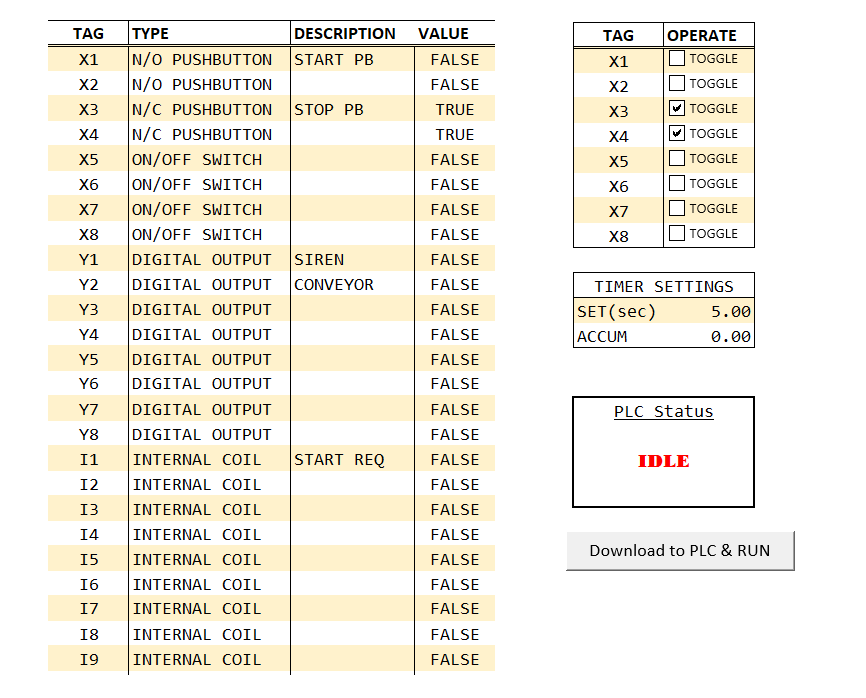 PLC Programming in Excel File
