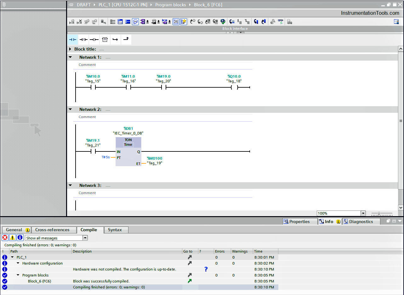 Compile errors in a plc
