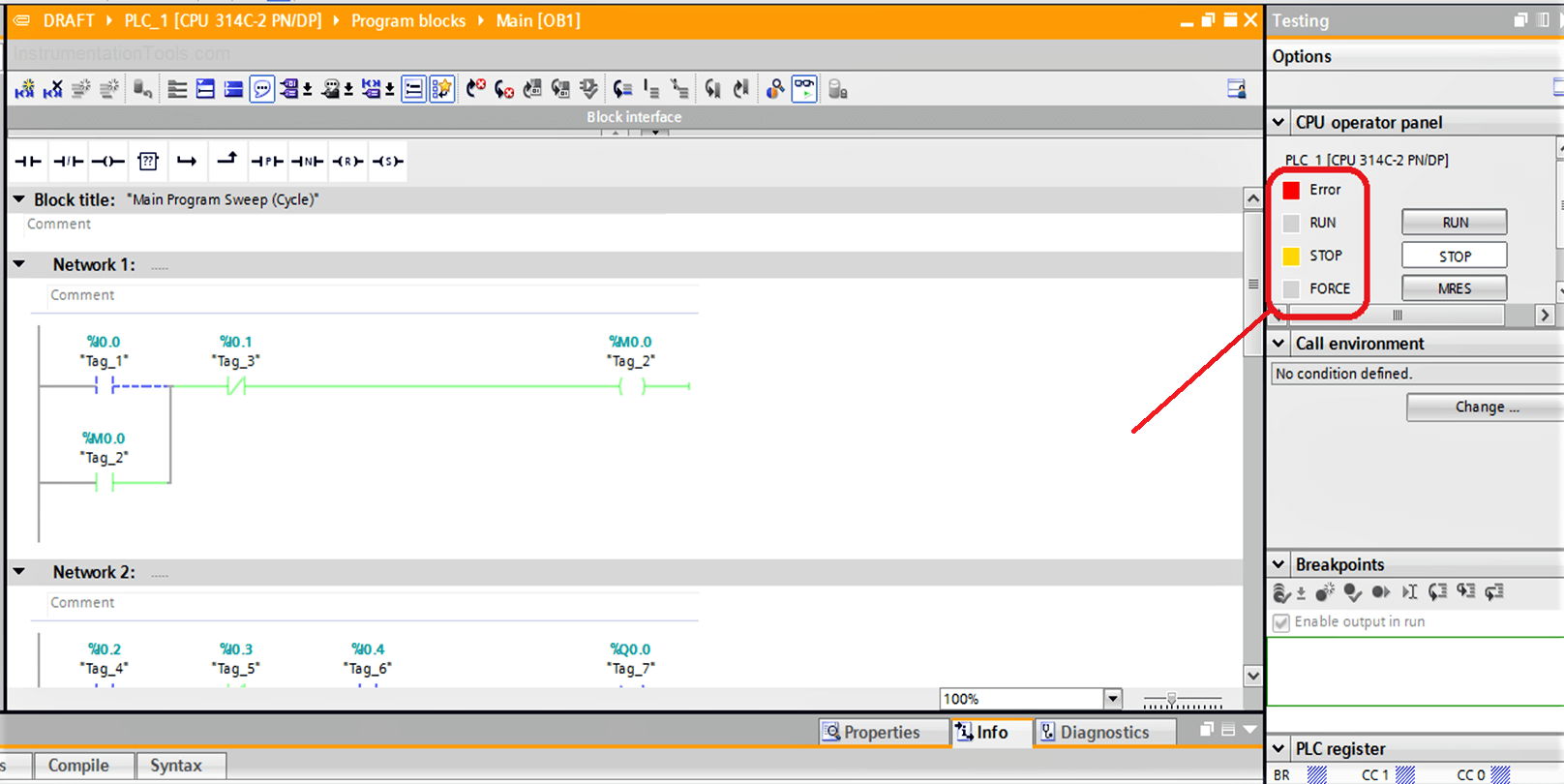 PLC Running and Stop Mode