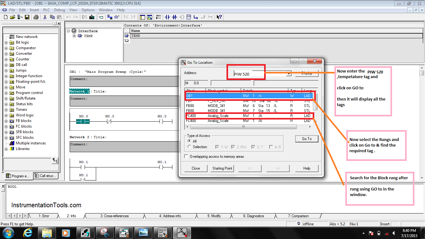 Procedure For reading or searching the tag number in Siemens PLC