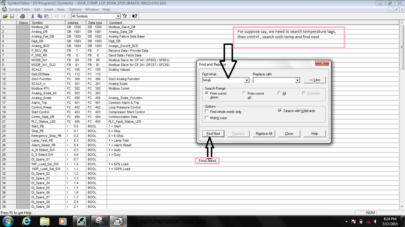 Search for required tag in Simatic Manager