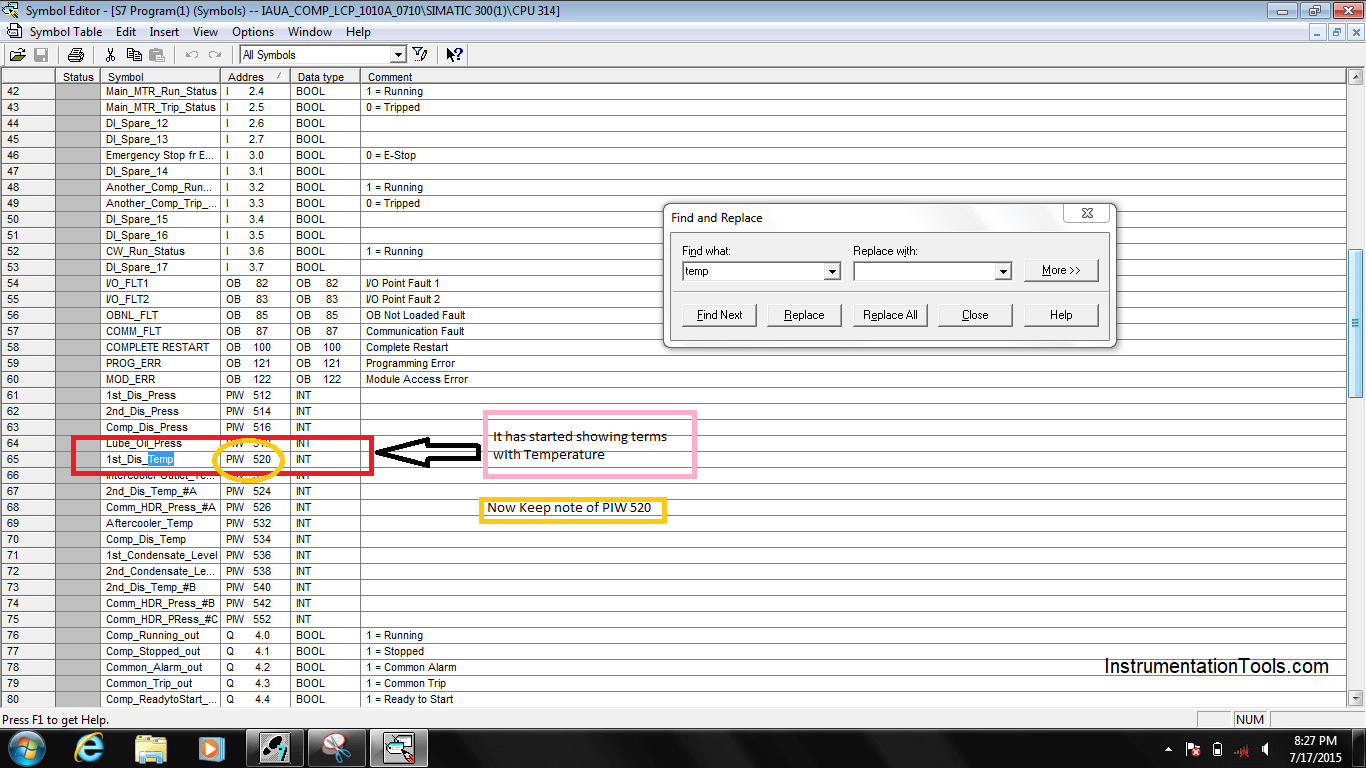 Find the Tag and note down the address in plc