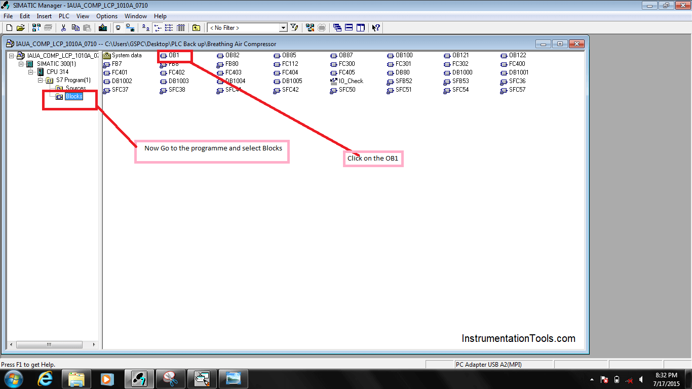Blocks and OB1 in Simatic Manager